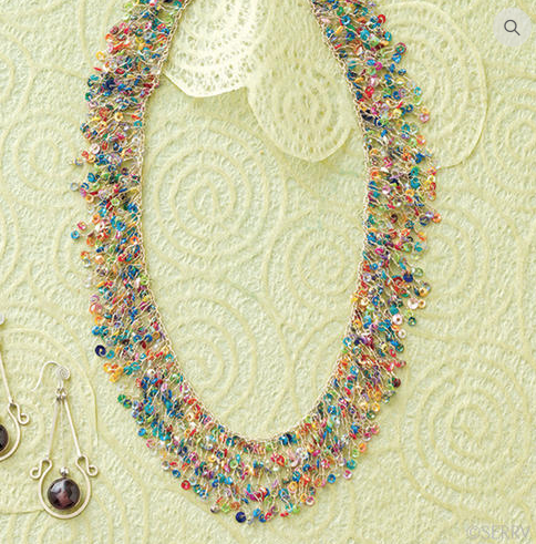 Shimmering Rainbow Necklace ($22) // Multicolored sequins sparkle on this lightweight necklace. Silver-tone chain clasp. Handmade in India. Fair Trade.