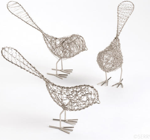 Wire Birdie Set ($24) // Set of 3 metal birdies. Each bird is wire wrapped with a different technique, for plenty of unique pattern, texture, and personality.
