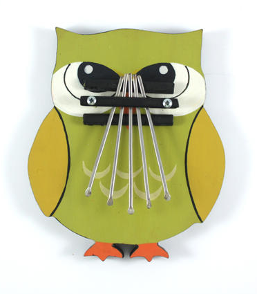 """Owl Thumb Piano ($32) // A hand-painted owl adorns the base of this wooden thumb piano. """"A hoot"""" to play all kinds of tunes. Fair Trade, Handmade in Indonesia"""