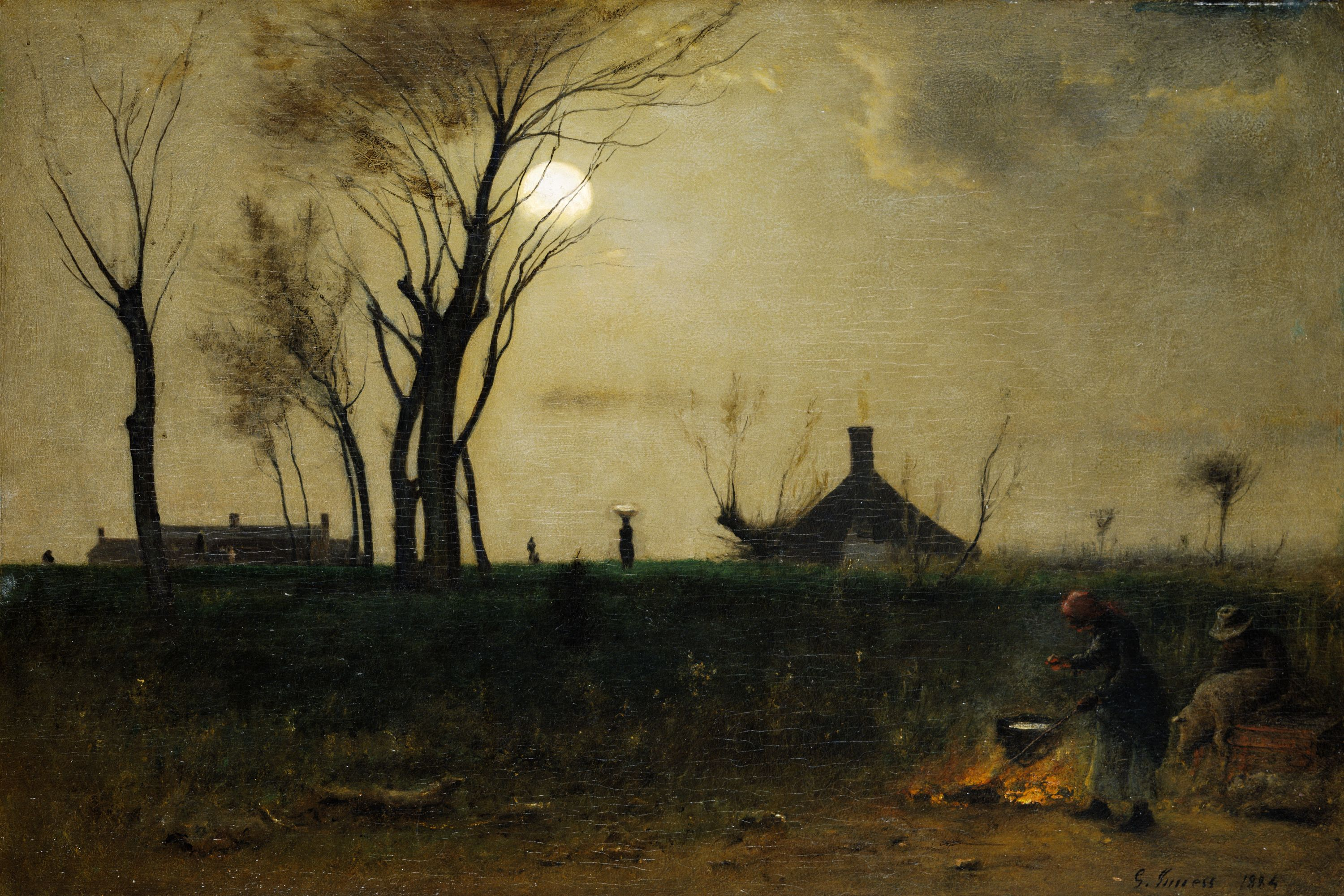 Not only does the moon itself have a haunting quality, but this painting also reflects the somber mood of the nation during the recover of the Civil War. The moon highlights the trees and emphasizes the unity between land and people.  // American Galleries