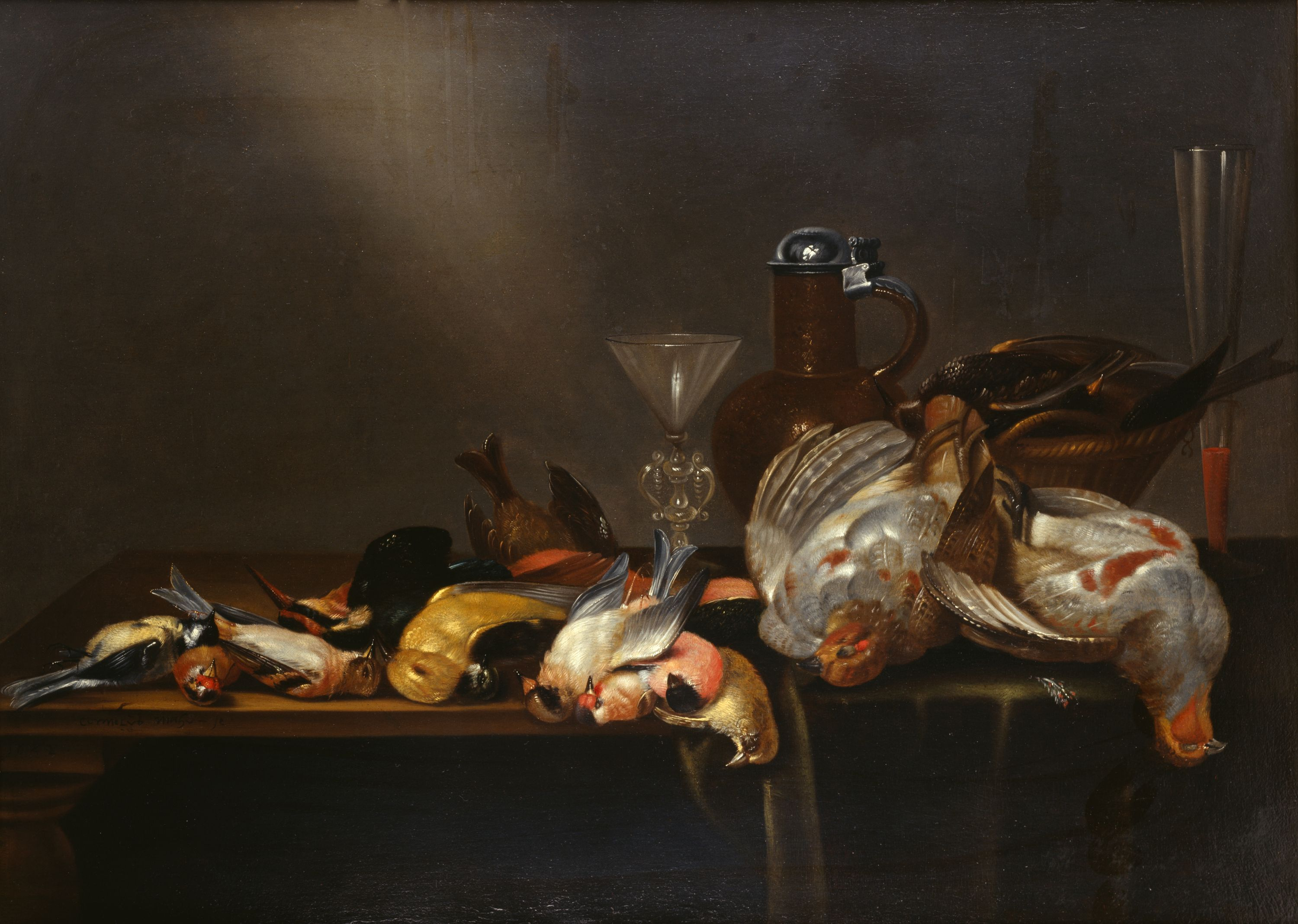 In the life of a Southern hunter, this seems to be a very familiar scene. Still-life paintings with game birds were immensely popular in the 17th century. Among the types of birds depicted are European Goldfinches, Golden Orioles, and Grey Partridges. // Dutch Gallery