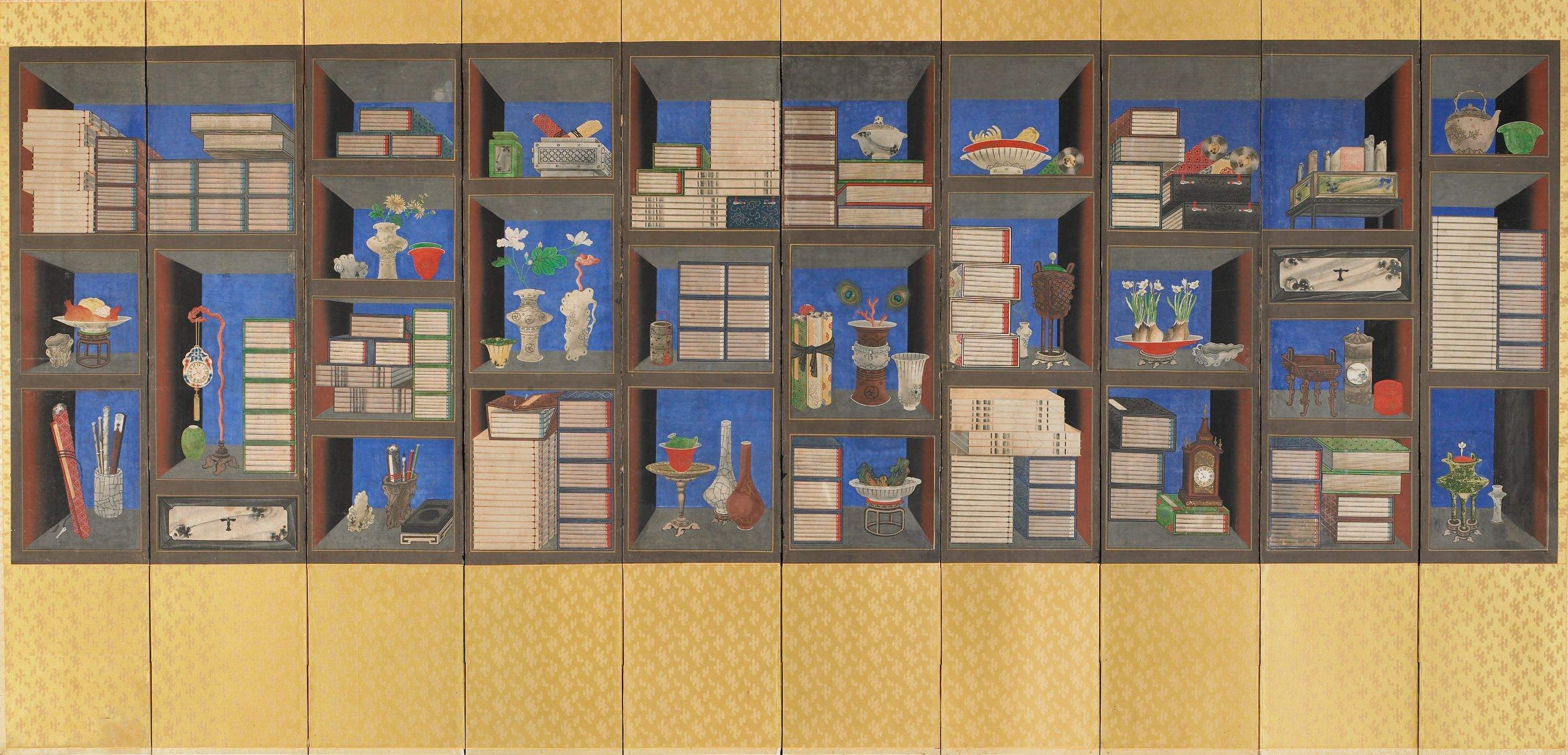 """Back to school, and it's time to bring on the books! This Korean """"Scholar Screen"""" was popular in the mid-19th century, where it was placed behind the desk of a scholar as a sign of education and refinement. // Korean Gallery"""