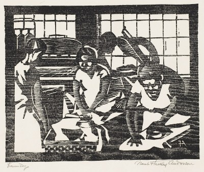 Frank Hartley Anderson, American (1891-1947), Laundry, about 1934. Woodcut print. Museum purchase 2007.8