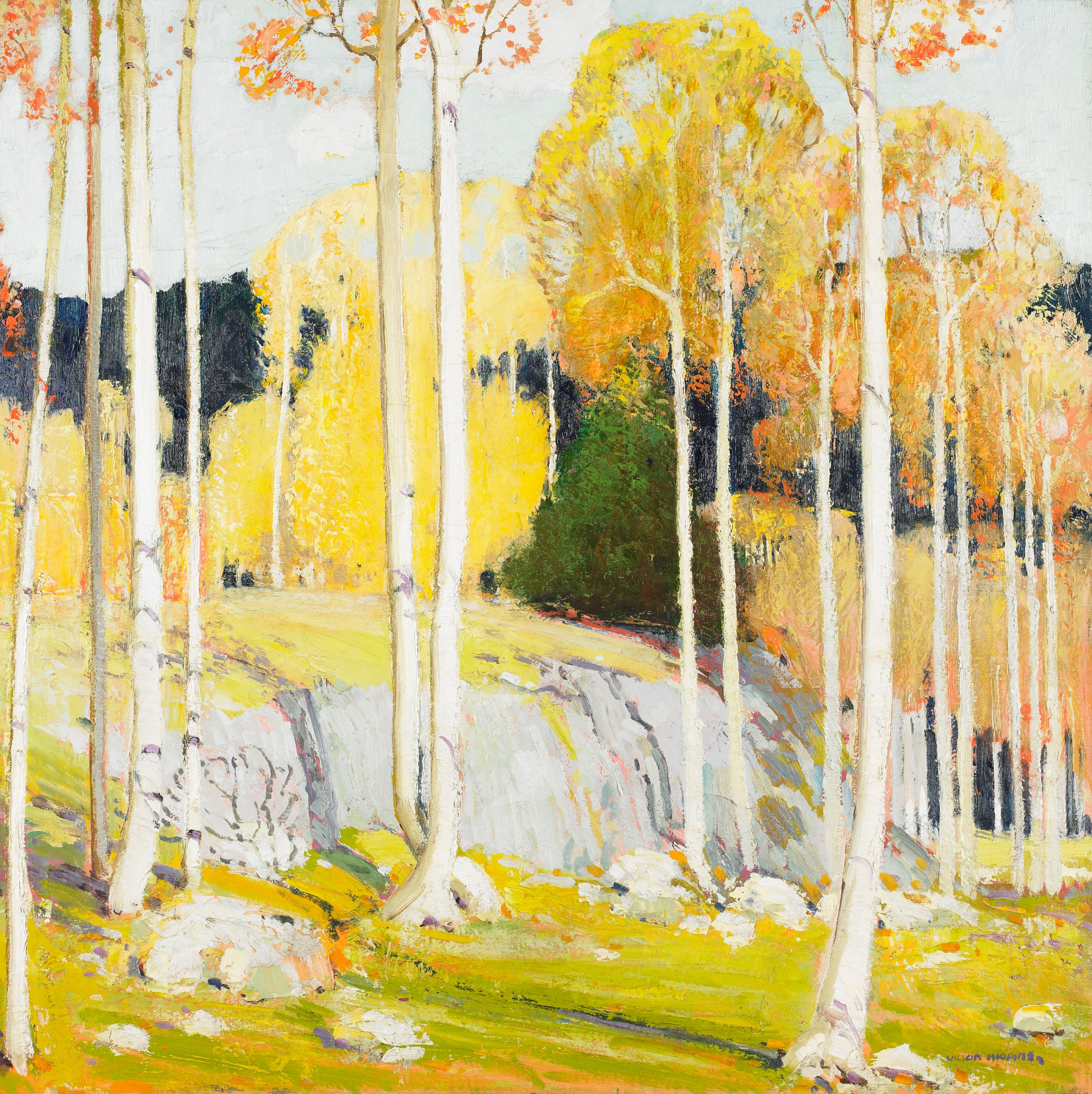 """What says """"autumn"""" more than this piece? The gorgeous colors of the season are represented beautifully in this painting of an Aspen Forest.  // American Galleries"""