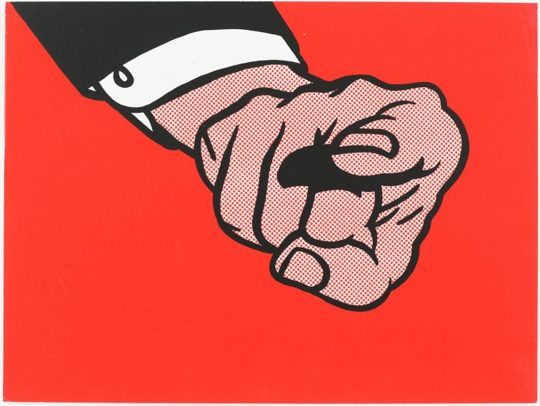 """Finger Pointing"" (1973) Roy Lichtenstein (United States, 1923-1997). Screenprint. Published by Experiments in Art and Technology, Inc. Printed by Styria Studio, Inc. (United States, New York). Gift of Robert Rauschenberg. 1977.2.15."