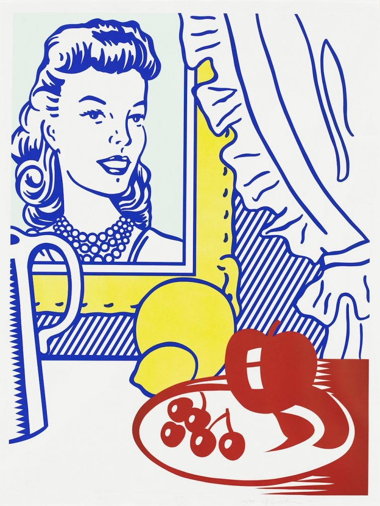 """""""Still Life with Portrait, from the Six Still Lifes series"""" (1974) Roy Lichtenstein (United States, 1923-1997). Lithograph and screenprint with debossing on Rives BFK paper. (Co-)Published by Multiples, Inc. (United States) and Castelli Graphics (United States, New York), Printed by Styria Studio, Inc. (United States, New York). Gift of Frederick Weisman Company in memory of Margaret Spencer Ragland. 1987.93."""