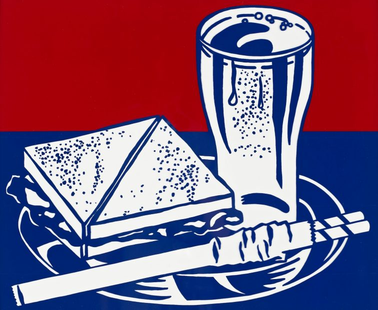 """Sandwich and Soda"" (1964) Roy Lichtenstein (United States, 1923-1997). Screenprint on clear plastic. Published by Wadsworth Atheneum (Hartford, CT); Printed by Sirocco Screenprints (United States, New Haven); Printed under the supervision of Ives-Sillman, Inc. (New Haven, CT). Museum purchase in memory of Max Heldman. 1997.69.7."