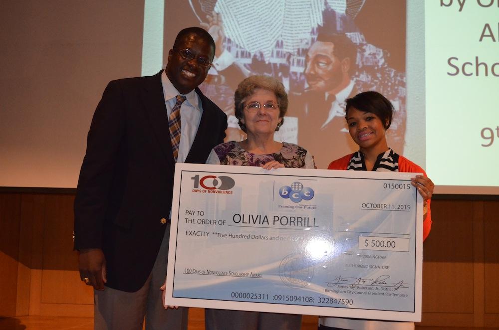 1st Place – Olivia Porrill, Alabama School of Fine Arts, 9th grade, Gandhi's Robes (artwork). Olivia's grandmother accepted the award on her behalf.