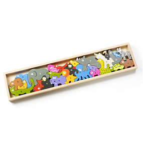 Made from eco-friendly rubber wood with non-toxic, child safe stains, this 26-piece Animal Parade Puzzle features one animal for every letter. Uppercase on one side and lowercase on the other teaches alphabet letters, while developing fine motor and problem-solving skills. Recommended for ages 5+. / $39.95