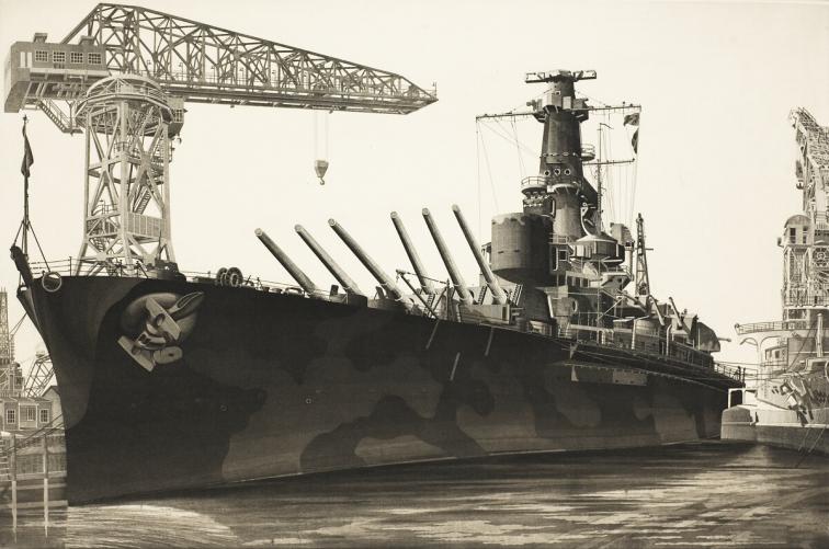 "John Taylor Arms (American, 1887-1953), ""Battle Wagon"" U.S.S. Alabama Outfitting at Norfolk Navy Yard, Crane Ship Kearsarge Alongside, 1943. Etching Gift of Mr. Harry J. McCormack 1952.5"