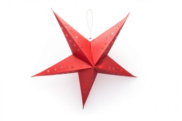 """This hanging star lantern is handmade in India from tree-free paper. Artists recycle cotton hosiery cuttings then dye, decorate and cut the """"paper"""" by hand. This is a fair trade handcraft that provides a fair wage in a safe and dignified working environment. 5 pointed star measures 22 inches in a shimmery red, gold, or white. Bulb heat protector included.  / $14"""
