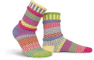 """Hand-knit in Vermont,  these """"solemate socks"""" come in many cheerful mismatched color arrangements. The perfect gift to brighten up the holidays!  / $20"""
