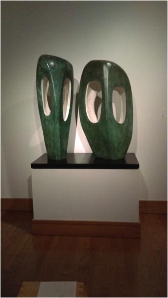 """Two Forms in Echelon"" (1961), Barbara Hepworth (English: 1903-1975), Bronze. 1986.160."