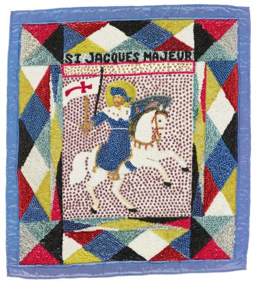 Vodou flag (St. Jacques Majeur), 1980s, artist unknown, Haiti, satin, beads, sequins, paper chromolithograph, Collection of the Art Fund, Inc. at the Birmingham Museum of Art; Robert Cargo Folk Art Collection; Gift of Caroline Cargo, AFI.223.2013