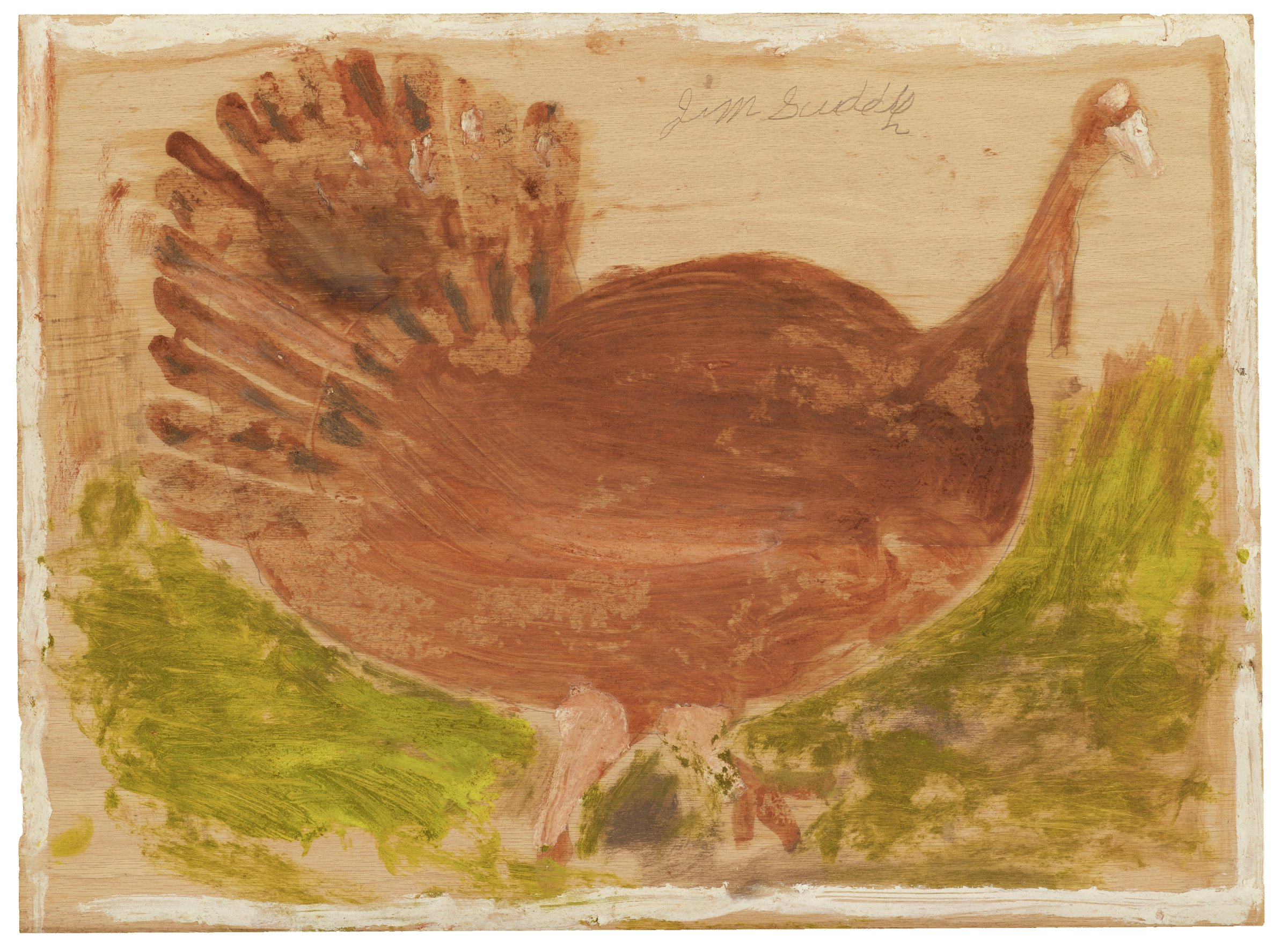 Untitled (Turkey) Date unknown, mid to late 20th century Jimmy Lee Sudduth American (1910 – 2007) paint and mud on wood board Collection of the Art Fund, Inc. at the Birmingham Museum of Art; Robert Cargo Folk Art Collection; Gift of Caroline Cargo, AFI.512.2013