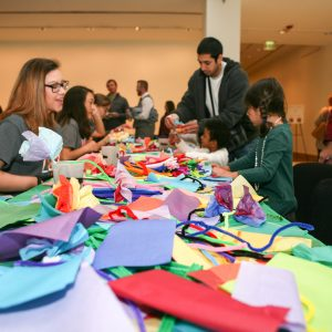 Art activity station during the Holi Festival.