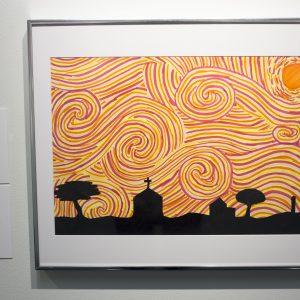 Title: Burning Sunset Medium: Colored Marker, Black Paper Name: Dulce Canela Age: 13 Grade: 7 School: WJ Christian School School System: Birmingham City Art Instructor: Jennifer Jones Principal: Dr. Nichole Davis Williams