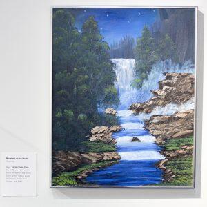 Title: Moonlight on the Water Medium: Oil Painting Name: Trenton Shealy-Clark Age: 15 Grade: 10 School: White Plains High School School System: Calhoun County Art Instructor: Deirdre Giddy Principal: Andy Ward