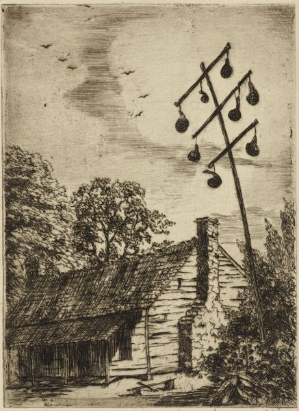 Mary Wallace Kirk, American; Tuscumbia; Alabama, 1889–1978, Cabin with Gourds, 1935–1943, etching; Collection of the Art Fund, Inc. at the Birmingham Museum of Art; Gift of Patrick Cather, Shoal Creek, Alabama, in memory of the late Bo Brown (1957–1992), Indian Springs School Class of 1976 AFI.129.2016