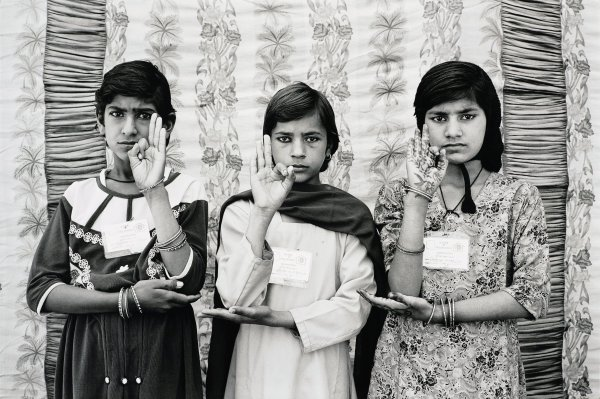 Gauri Gill, India, born 1970, Sunita, Sita and Nirmala, 2003, archival inkjet print mounted in Dibond; Collection of the Art Fund, Inc. at the Birmingham Museum of Art; Purchase in honor of Gail C. Andrews for her dedicated service to Birmingham's Indian community with funds provided by Dora and Sanjay Singh AFI 14 2017