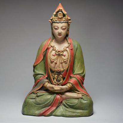China, Ming dynasty (1368-1644), Guanyin, wood, straw, stucco, gilding and pigment; The Weldon Collection T.2014.211