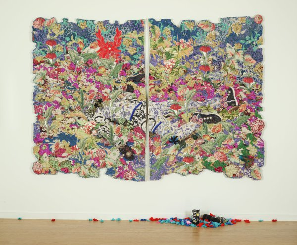 Ebony G. Patterson, Jamaica, born 1981, active in Kingston, Jamaica and Lexington, Kentucky, among the weeds, plants, and peacock feathers, 2014, mixed media; Collection of the Art Fund, Inc. at the Birmingham Museum of Art; Purchase with funds provided by the Collectors Circle for Contemporary Art, AFI.150.2015a-e, image © Ebony G. Patterson