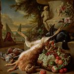 Dead Hare, Grouse, King Fisher and Basket of Fruit at the Foot of a Stone Urn in a Garden with a Groom Holding a Basket of Fruit