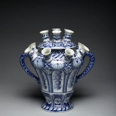 "Flower or Tulip Vase, about 1693, tin-glazed earthenware (Delft), De Griexe A factory (The ""Greek A"" factory), the Netherlands"