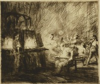 Scene of glassblowers at work. The furnace sits on the left and workers surround it. A larger man, identified as the famous glassblower of the time, Seguso, sits in a chair near the furnace.