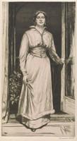 A woman in elegant attire walks through an open doorway. Her left hand rests on the doorknob.