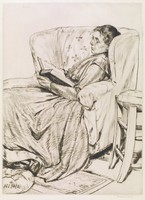 An older woman with glasses and a long dress reclines in an oversized chair and reads a book.