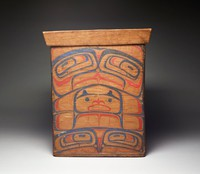 The totemic design is well done but rather recent. The paint is vermilion and ball bluing blue. Totemic designs occupy two sides and a design (see card) is on each of the other sides. The box is of red cedar, pegged side and bottom. New looking almost.