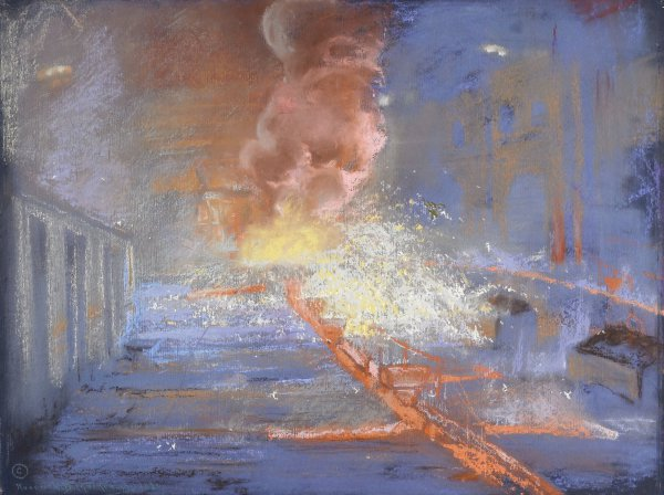 Burst of Gas and Sparks (Blast Furnace), Roderick D. MacKenzie, pastel on paper