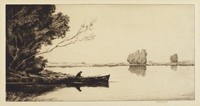 A figure sits in a canoe afloat a calm body of water. Small groves of trees are scattered around the body of water. The canoe is nestled into a bank on the left. In the distance, another figure in a canoe is waiting at a dock. A third figure is seen standing on the dock.