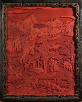 Cinnabar lacquer panel