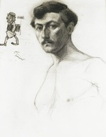 Male Head with Cartoon Figure, Lucille Douglass, charcoal on machine-made laid paper