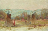 Crow Indian Camp, Joseph Henry Sharp, oil on canvas
