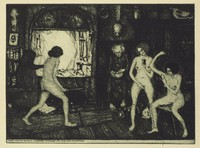 Inside a room with various witchcraft paraphernalia, three young nude women are in motion doing various activities. Two older figures dressed fully in black stand behind them.