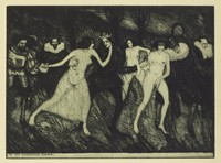 Scene of nude women dancing with high society men. A prince or king dances in the middle with two of the women.