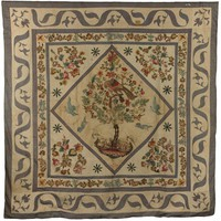 "Quilt Top, ""Tree of Life"", Martha Hobbs Lucas, English cotton chintzes, stripes, copper-plate printed fabrics"