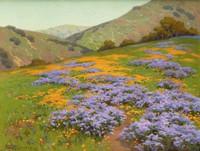 Wild Heliotrope and Poppies, San Francisco, John Marshall Gamble, oil on canvas