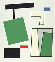 An abstract composition based primarily on square and rectangular shapes against a light gray background.