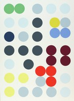 A horizontal, abstract composition comprised of circles of equal size in multiple colors against a white background.