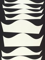 A vertical, abstract composition made up of a repetition of a geometric shape in various sizes vertically stacked, appearing to balance on top of one another.