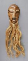 Miniature Mask, Lega people, African, Democratic Republic of the Congo, wood, raffia
