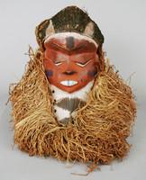 Mask (mbuya), Pende people, Democratic Republic of the Congo, African, wood, raffia, bark cloth, pigment