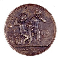 Obverse: Pair of cherubs blowing bubbles. Reverse with inscription.