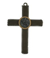 Small cast-iron filigree cross pendant with a small, central cast-iron medallion with the image of the Madonna of the Chair after Raphael in a gold mount.