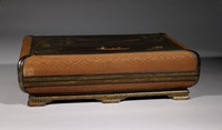 Covered Box, China, wood, bamboo, lacquer, polychrome