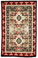 "Rug with elaborate interlocking ""Oriental"" motifs in red, black, cream, gray, and brown, reciprocating T pattern in border."